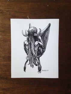 Mostro Chtulu penna e inchiostro disegno di boneandinkdrawings