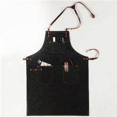Unisex Black Denim Bib Apron with Genuine Leather Straps&Convenient Pockets. Suitable for Uniforms of Barber,Barista,Bartender,Baker,Chef,Stylist,Hairdresser,Waiter/Waitress,Florist,Painter,Gardener, Carpenter,Woodworker or Workwear of Salon,Bakery,Cafe,Restaurant,Hotel,Bistro,Tattoo shop,Craft workshop etc.