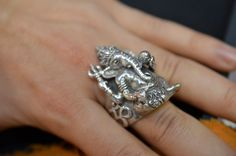 Merry christmas! So here is a 925 silver ganesha ring. Ganesha is the hindu god with a human body and an elephant head. This ring is a pure piece of jewellery! Look at the details. These were approx 275€ each and we had one resized for a client already. For more photos go to http://purejewellery.blogspot.fr/