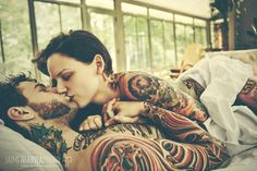 Tattoo artist Hayley Lakeman and her husband. #tattoo #couple