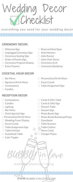 Wedding Decor Checklist | Wedding Decor | Ceremony Decor | Reception Decor | Cocktail Hour Decor | Wedding #Weddingschecklist #weddingceremony #weddingreception #weddingdecorations