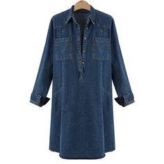 474fb1c6ee042 Henraly dresses Henraly Women Denim Mini Dresses Spring Autumn Shirt Dress  Longs Sleeve Jeans Dresses Plus Size Womens Clothing