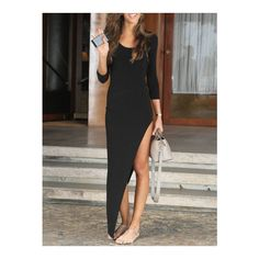 SheIn(sheinside) Black Round Neck Slim Asymmetrical Dress (24 BAM) ❤ liked on Polyvore featuring dresses, black, 3/4 sleeve dress, black party dresses, three quarter sleeve dress, 3/4 sleeve cocktail dresses y black cocktail dresses