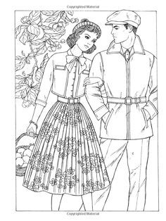 Vintage coloring pages 1950s ~ Art nouveau Coloring Book | Art Nouveau Fashions Coloring ...