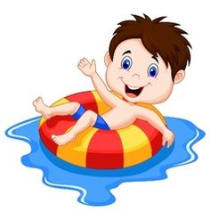 Vector illustration of Girl cartoon floating on an inflatable circle in the pool. Download a Free Preview or High Quality Adobe Illustrator Ai, EPS, PDF and High Resolution JPEG versions.