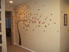 Un árbol pintado sobre una pared beige... Ideal para mi pasillo de la casa del árbol!!!! by findamuralist.