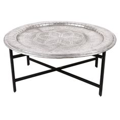 Superb Moroccan Vintage Aluminium Tea Tray   TABLES   FURNITURE