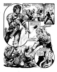 Strontium Dog by the great Carlos Ezquerra. Comic Book Pages, Comic Page, Comic Books Art, Robert Crumb, Frank Cho, Michael Turner, Sci Fi Comics, Old Comics, Bruce Timm