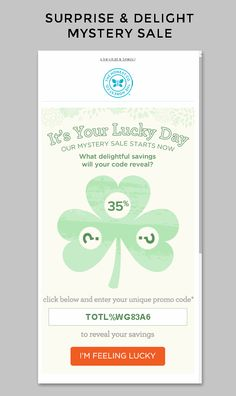 The Honest Co | The Honest Co. combined a surprise & delight campaign with St. Patrick's Day. Their creative & copy is both on brand and timely for the holiday. An animated gif helps to increase clicks and the incentive of up to 40% off is sure to drive results. | Kandice Carlson, Strategic Services Manager, Salesforce Marketing Cloud