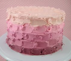 Bubble and Sweet: Easy Pink Ombre Butter Cream Frosting Cake tutorial for Real people