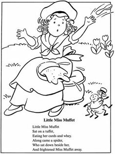 coloring page: inkspired musings: Little Miss Muffet, Tuffets and fun Spiders!