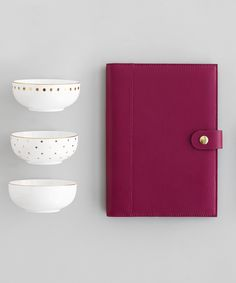 Gorgeous Black Cherry A5 Leather Notebook Holder and cute Life is Sweet gold foil bowls