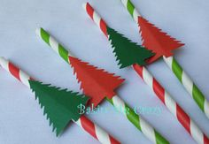 20 Green or Red Striped Paper Straws with a Christmas Tree decoration for you Christmas Celebration Work Function, Corporate Event, Party #7