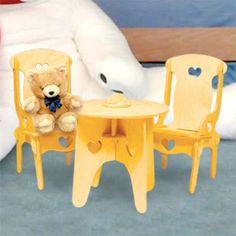 """Doll Furniture Table and Chairs DIY Woodcraft Pattern #1990 - Easy to assemble. No tools or hardware required. Just slide the pieces together for a sturdy attractive table and chairs for your dolls. 17""""H x 9""""W x 10""""D. Pattern by Sherwood Creations #woodworking #woodcrafts #pattern #doll #craft #furniture #table"""