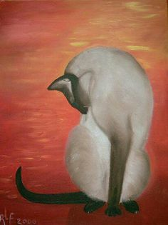 """Siamese cat oil painting by RiF. """"Monk"""""""