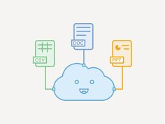 An illustration on Docs getting synced to the cloud. A ecstatic feel felt by the cloud when its synced.  Thanks for watching :)