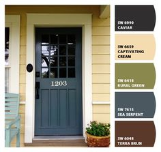 Paint colors from ColorSnap by Sherwin-Williams Yellow House Exterior, Farmhouse Exterior Colors, Farmhouse Paint Colors, Craftsman Exterior, Exterior Paint Colors For House, Paint Colors For Home, Outside Paint Colors, Door Paint Colors, Exterior Color Schemes