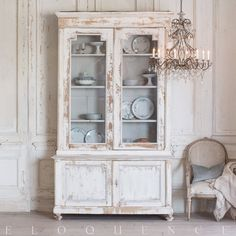 Wonderful antique cupboard with glass doors atop a solid wood base. Painted a Provincial white wash that shows the light wood underneath is accented by a light grey trim. Total of 4 shelves that are also conveniently adjustable. Small Bedroom Furniture, White Furniture, Bed Furniture, Cheap Furniture, Discount Furniture, Dining Room Furniture, Urban Furniture, Furniture Buyers, Cottage Furniture