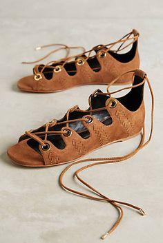Lola Cruz Lace-Up Suede Sandals