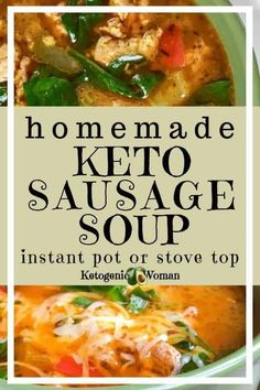 Add this recipe to your easy keto meal ideas. This sausage soup, made with spinach and peppers, is tasty and easy to make. This simple recipe will be going into my regular rotation! Try it today! #keto #homemade #ketogenic #soup #sausage #lowcarb Low Carb Lunch, Low Carb Dinner Recipes, Lunch Recipes, Dessert Recipes, Cake Recipes, Keto Dinner, Breakfast Recipes, Ketogenic Recipes, Keto Recipes