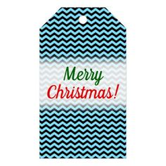 Merry Christmas! + Light Blue & Black Wave Pattern Gift Tags