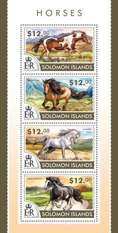 Post stamp Solomon Islands SLM 15204 aHorses (American Paint horse, Mongol horse, Camarillo horse, Gypsy Cob horse)