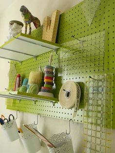 craft organization or a cute way to organize in a boys bedroom, with baskets maybe