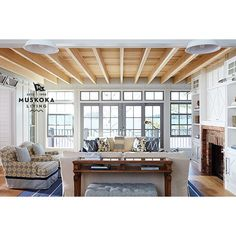 An inspiring great room completed last summer. #muskokalivingprojects #muskokalivinginteriors #muskoka #muskokalivingdesign #coastalinteriors #lakerosseau #interiordesign #architecture