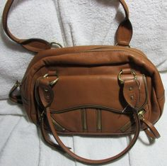 Franco Sarto Brown Leather Shoulder Purse Tote Handbag 100% Genuine Leather #FrancoSarto #ShoulderBag