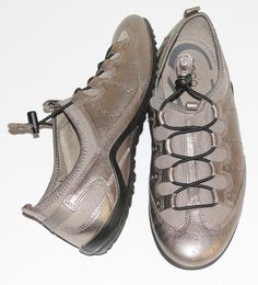 ECCO~METALLIC~LEATHER *BALLET-STYLE* COMFORT~TRAVEL~STRAPPY SNEAKERS SHOES~40 #ECCO #BalletStyleFlatComfortTravelSneakersShoes