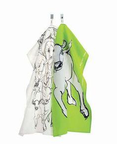 Marimekko 2 Tea Towels Kevatjuhla Cows £24.95 - Kitchen & Dining - Tea Towels ILLUSTRATED LIVING