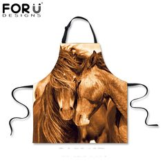 FORUDESIGNS Funny 3D Horse/Dolphin Apron Women Man Chef Cooking Aprons for Adult Ladies 3D Animals Bird/ Lion Kitchen bbq Apron