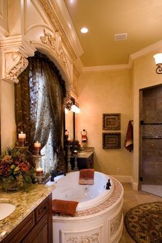 If you are having difficulty making a decision about a home decorating theme, tuscan style is a great home decorating idea. Many homeowners are attracted to the tuscan style because it combines sub… Tuscan House, Tuscan Bathroom Decor, Bathroom Styling, Mediterranean Homes, Tuscan Decorating, World Decor, Tuscan Bathroom, Bathroom Design, Beautiful Bathrooms