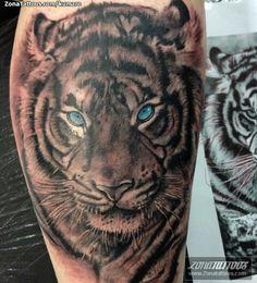 #Tiger #BlueEyes #BlackAndWhite #Tattoo #Ink