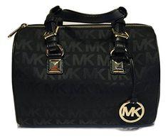 ed222b1df734 Save on the Michael Kors Md Grayson Handbag Signature Mk Jacquard Black  Leather Satchel! This satchel is a top 10 member favorite on Tradesy.