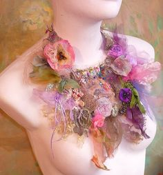 Necklace SECRET GARDEN with Peony and Roses and.   Stunning - beautiful colors.