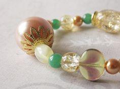 Beautiful Romantic Beaded Bracelet with Aventurine Gemstones, Glass Beads, Metal Beads and Plastic Beads