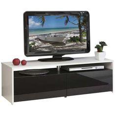 Meuble TV 2 tiroirs Coloris blanc/noir - pas cher ? C'est sur Conforama.fr - large choix, prix discount et des offres exclusives Meuble tv sur Conforama.fr