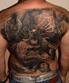 Grey Ink 3D Batman And X-men Tattoo On Whole Back