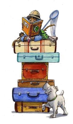 Travel bag illustration suitcases ideas for 2019 Reisetasche Illustration K. I Love Books, Books To Read, My Books, Illustrations, Book Illustration, Reading Art, Reading Bingo, World Of Books, Library Displays