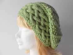 Warm Winter Hat, Green Slouchy Hat, Women's slouchy cabled hat, Gift for Her. Cable knit beanie, Trendy winter hat, Irish knit Hat