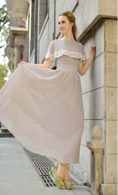 Modest Clothing - Women's Vintage Cape Sleeve Maxi Dress