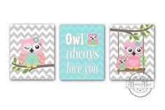 "Owl Baby Girl Nursery Art Print Childrens Wall Art Baby Room Decor Kids Print Nursery Decor 8""x10""owl pink  aqua on Etsy, $45.00"