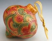Christmas Ornament in Autumn Gold, Green, Red Fimo Filigree