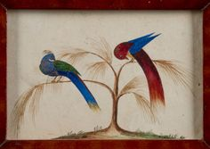 """Pook & Pook.  April 24th 2015 Lot 325 (detail).  Pennsylvania watercolor fraktur bookplate, 19th c. of two plumed birds in a period yellow and red grain painted pine frame, 3 1/2"""" x 5 1/4"""". Very good condition. No apparent damages or repairs.   Provenance: An Alexandria, Virginia estate. Estimated: $400 - $600. Realized: $390."""