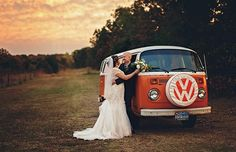 Lovely shot of a VW wedding at sunset happy couple with thier Orange vintage vw bay window campervan