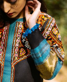 Black Handwoven Mirror Work Tribal Cropped Jacket in Wool