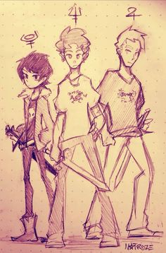 Its been like six months at least since i drew pjo/hoo stuff so here's a doodle Percy, Jason and Nico so i can start to get used to drawing all these dorks again Percy Jackson Fan Art, Percy Jackson Fandom, Percy Jackson Ships, Percy Jackson Memes, Rick Riordan Series, Rick Riordan Books, Magnus Chase, Anime Art Fantasy, Will Solace