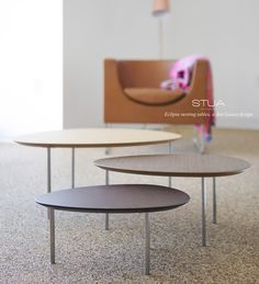 A set of three STUA Eclipse nesting tables, as seen in the Design Within Reach Studio in Los Angeles. Design Within Reach, Nesting Tables, Design Furniture, Furniture Collection, Innovation Design, Timeless Design, Contemporary, Chair, Studio