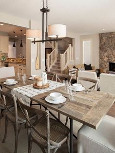 Contemporary Dining Room With Carpeted Steps, Restoration Hardware    Flatiron Rectangular Dining Table, Flush